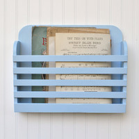 Rustic Hanging Magazine File Holder Pale Blue Vintage Design Storage Organizer Shabby Periwinkle Robin Egg Solid Color