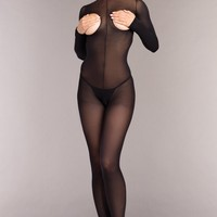 Opaque Cupless Bodystocking