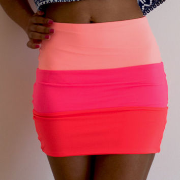 Blitzed Peach - 3 Tone Neon Bodycon Skirt by Sex Kitten Couture