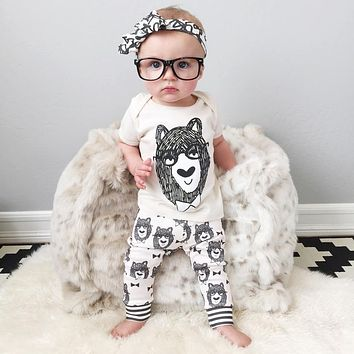 New 2016 summer style infant clothes boy cotton little monsters short sleeve 2pcs baby girl clothes