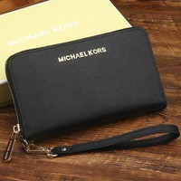 PEAP MK Micheal Kors Women Leather Zipper Wallet Purse Wrist Bag Black
