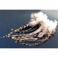 Tigofly 30 pcs Top Quality Natural White Black Barred Grizzly Rooster Hackles Streamer Fly Tying Hackle Feathers Materials