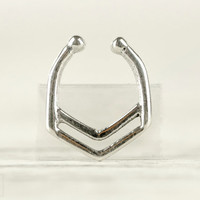 Fake Nose Ring Fake Septum Ring Body Jewelry Sterling Silver Bohemian Fashion Indian Style - SE028F SS