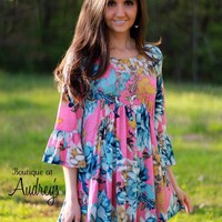 Honeyme Pink and Blue Floral Print Top with Three Quarter Ruffle Sleeves