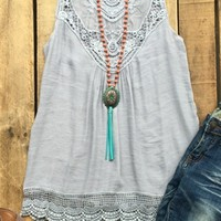 sleeveless top with lace detail