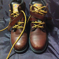 Vintage Woman Brown leather NO steel toe work boots/Woman Boots sz mx 26 mx/sz us 9/Brown leather boots/Work Boots Style