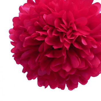 """EZ-Fluff 8"""" Red Tissue Paper Pom Pom Flowers, Hanging Decorations (4 PACK)"""