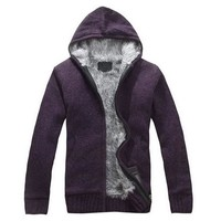 Men's Fur Lining Knitted Jacket