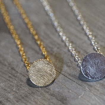 Gold or silver plated stainless steel round disc with texture bracelet