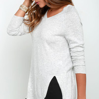 Name the Day Heather Grey V Neck Sweater