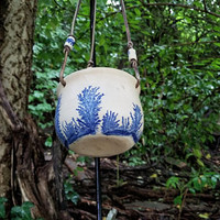 Mid Century Flow Blue Hanging Herb Planter Hand Thrown Stoneware Pottery