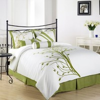 Chezmoi Collection 7-Piece Green Tree on White Comforter Set for Queen Size Bedding