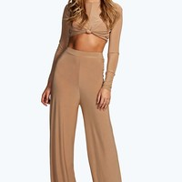Shannon Camel High Waisted Slinky Palazzo Trousers
