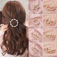 1PC Korea Fashion Imitiation Pearl Hair Clip Snap Barrettes Women Girl Handmade Pearl Flowers Hairpins Hair Accessories