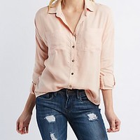 OVERSIZE BUTTON-UP COLLARED SHIRT