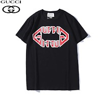 GUCCI New fashion bust letter print couple top t-shirt Black