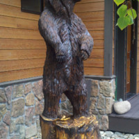 Life-sized Bear Carving - chainsaw carved bear, chainsaw carving, cabin decor, lodge decor