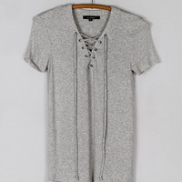 Short Sleeve Lace Up Ribbed Jersey Tee - Heather Gray