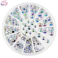 White AB Acrylic Rhinestones Glitter Diy Sutds Supplies For Nails Wheel Charms 3D Nail Art Decorations ZP042