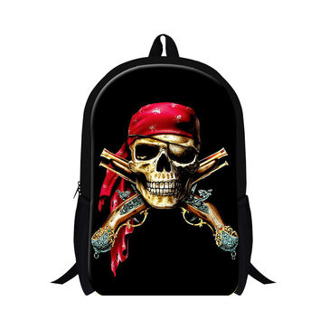 Pirates Print Unisex Personalized School Backpacks,Skull Lightweight Bookbags For Cool Man,Polyester Day Backpacker Magazine