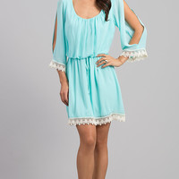 Short Scoop Neck Dress with Three Quarter Length Sleeves