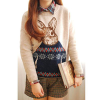 'The Cascata' Rabbit Printed Long Sleeve Sweater