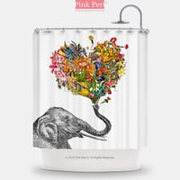 The Happy Elephant Heart Flowers Shower Curtain Home & Living Bathroom 136