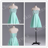 High Quality Cheap Chiffon Ruffle A-Line Sweetheart Beads Lace-up Piping Short Bridesmaid /Party / Evening /Prom / Formal Dresses 2014