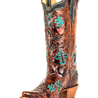 Corral Women's Whiskey Marble Brown/Turquoise Cross Boot - R1019