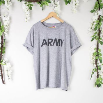 Vintage Gray Army T Shirt