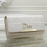 Dior Women Leather Buckle Wallet Purse