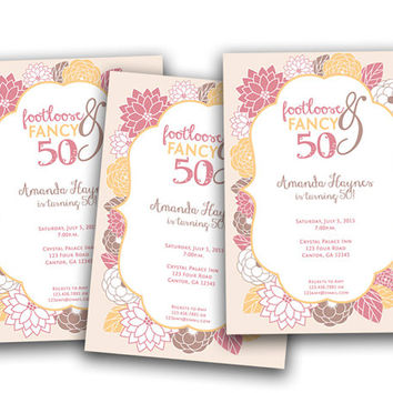 Spring Floral Woman Birthday Invitation - Adult Party Invites - Footloose Fancy 50 40 30 60 70 - Peonies Invitation for Ladies - Brown