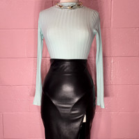 Mint Condition Ribbed Knit Bodysuit