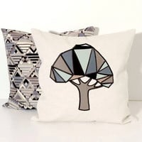 Geometric Tree Pillowcases (2), Nature  Throw Pillow Covers, Linen Pillow Covers, grey-green-brown