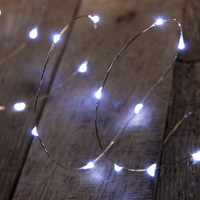LED Lights 10 Feet Silver Wire 60 Lights Cool White Plug In Outdoor $16