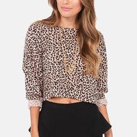 Obey Mellow Mood Animal Print Cropped Sweater