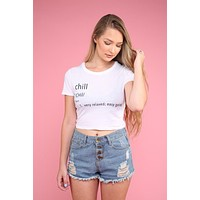 Chill Definition White Graphic Crop Top