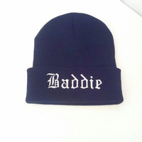 Baddie Beanie Knit Hat Skull Cap Black White Your choice colors Custom Embroidery