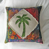 """Quilted patchwork palm tree boho pillow cover, with green, red, and purple batiks and natural distressed denim 20"""""""