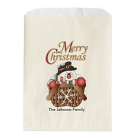Merry Christmas Snowman in a Basket Favor Bags