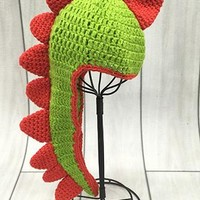 Green And Red Dinosaur Crochet Baby Hat - CCN42