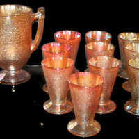 Vintage Marigold Carnival Jeanette Glass Co Water Pitcher & 10 Tumblers Set