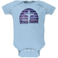 Jesus Saves Faith Over Fear Sun Crucifix Soft Baby One Piece
