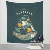 Whale | Petrol Grey Wall Tapestry by Seaside Spirit