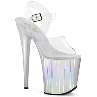 "Flamingo 808HP-1 Silver Hologram Platform Sandal Shoe  8"" High Heels"