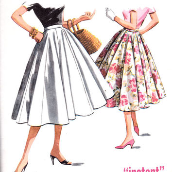 1950s Misses Rockabilly Swing Skirt 10 Gore McCall's 4064 Womens Vintage Sewing Pattern Waist 28""