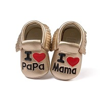 Romirus New brand Pu leather baby moccasins shoes fashion heart style with letters baby boys girls shoes perwalkers soft sole