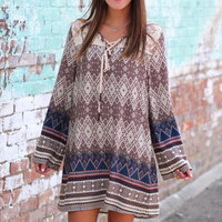 Boho Print Dress {Brown}