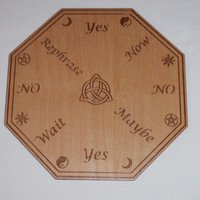 Pendulum Board with Triquetra Symbol in Center Divination Tool Metaphysical New Age Altar Board