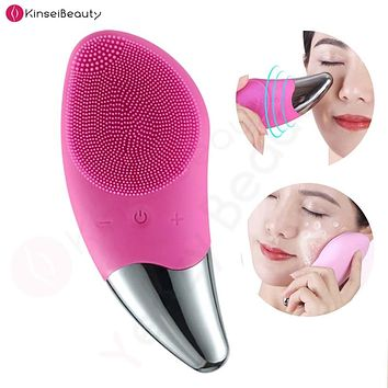 Facial Cleansing Brush ROSE Silicone Sonic Face Cleaner Deep Pore Cleaning Skin Massager Face Cleansing Brush Device FREE SHIPPING